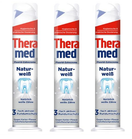 【德国BA】3 xTheramed 泰瑞美 自然美白站立式牙膏 强效去除牙石 100ml