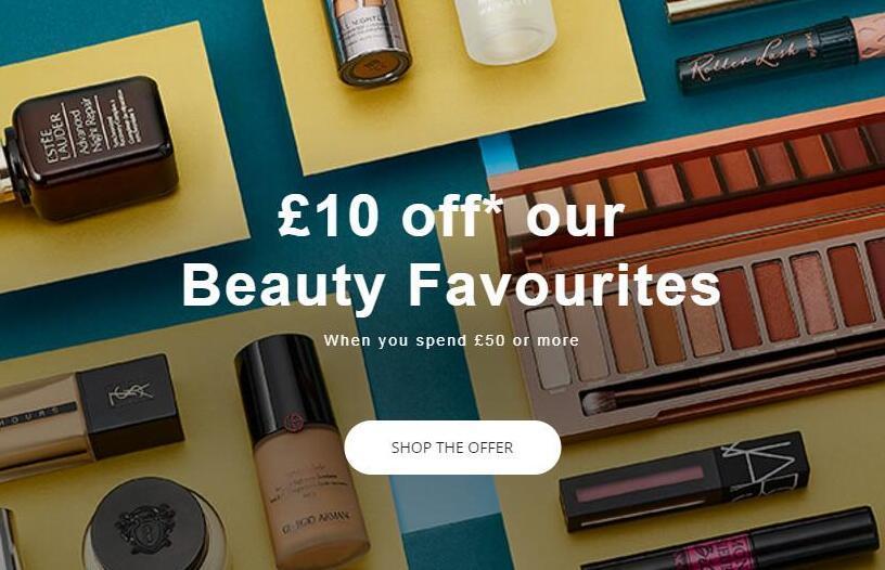 英国House of Fraser官网美妆产品满£50减£10