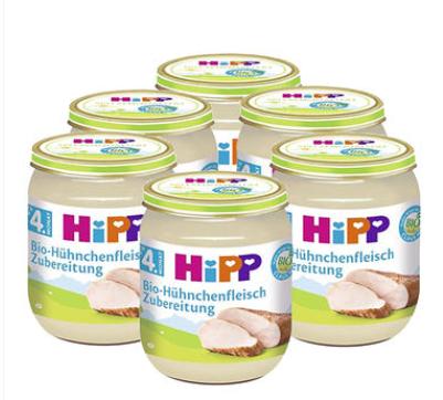 【德国DC】【6瓶装】Hipp 喜宝 宝宝佐餐有机纯鸡肉泥 125g6瓶 4个月+