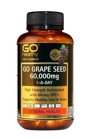 【新西兰PD】【爆款】GO Healthy 高之源 60000mg 葡萄籽精华胶囊 120粒 仅需NZ$38.5/约¥183