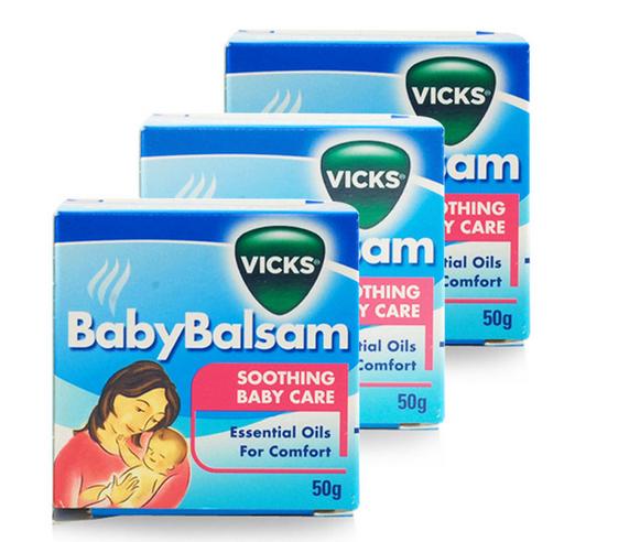 【3件包邮装】Vicks 维克斯 儿童专用止咳通鼻香膏 3x50g/盒(3个月以上) 优惠价格:129元