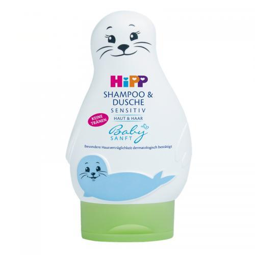 保税仓 HIPP喜宝婴儿无泪免敏洗发沐浴洗护二合一小海狮200ml 包邮包税