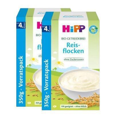 【德国BA】Hipp 喜宝 有机纯大米 免敏米粉 350g 4个月以上 2盒装