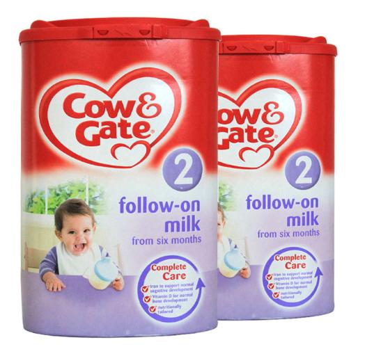 【2件包邮装】Cow &amp Gate 英国原装牛栏奶粉 2段 (6-12个月) 2x900g/罐 商品价格:329元