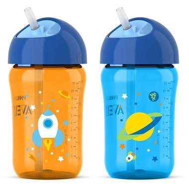 【美国Babyhaven】Philips Avent 飞利浦新安怡 Twist系列 稻杆吸管杯 12盎司 2个 橙 蓝
