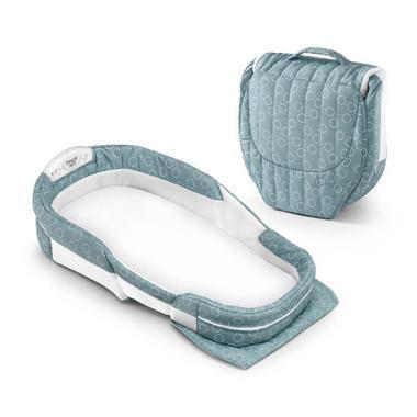 【美国Babyhaven】Baby Delight 婴儿折叠环绕式安全床(床上床) 加长款 海绿色圆环图案
