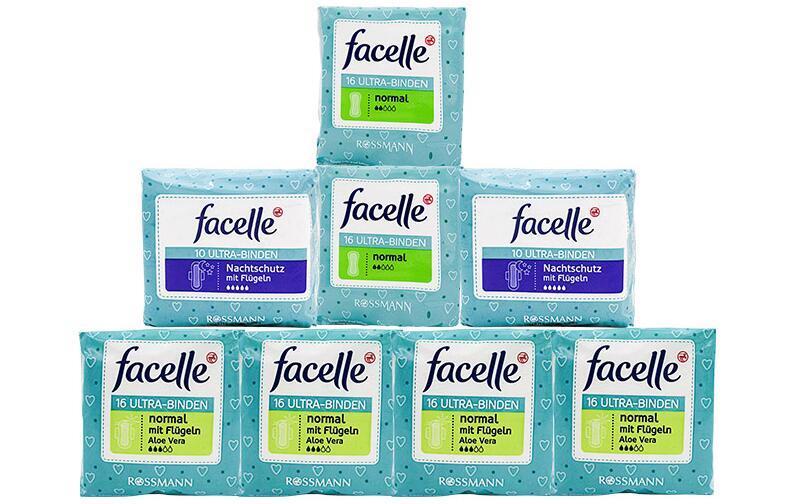 【包邮装】Facelle 菲思乐 日用+夜用卫生巾套装(2滴水2包+3滴水4包+5滴水2包)  商品价格:149元