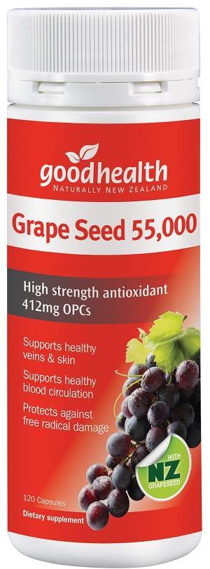 【新西兰PD】【两件包邮】Goodhealth 好健康 55000mg 葡萄籽强效抗氧化胶囊 120粒NZ$32/约¥148