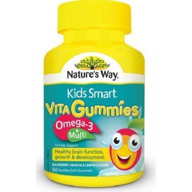 【澳洲PO药房】【爆款底价】Nature&#039s Way Kids Smart 佳思敏 儿童复合维生素+鱼油软糖 50粒