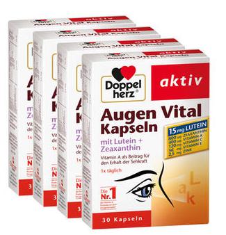 【德国DC】Doppelherz 双心 叶黄素玉米黄质素护眼胶囊 30粒 x4盒 同类产品销量第一