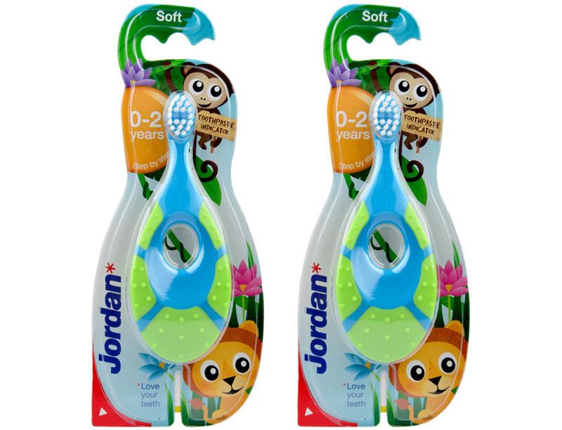 【2件包邮装】Jordan 婴儿软毛训练乳牙刷 2支(0-2岁 颜色图案随机发货) 商品价格:69元