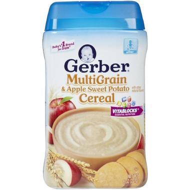 【美国Babyhaven】【满$58减$5】Gerber 嘉宝 苹果甜薯混合谷物米粉 二段宝宝辅食 8盎司(227g)