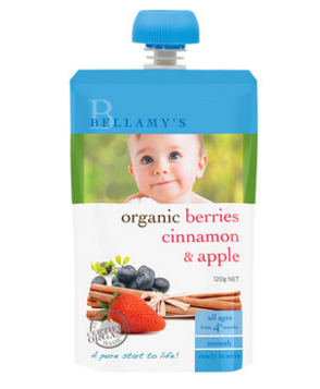 Bellamy&#039s 贝拉米 婴幼儿辅食有机浆果肉桂苹果水果泥(4个月以上)