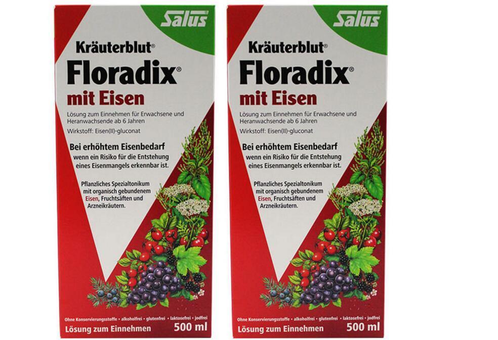 双11【2件包邮装】Salus Floradix Iron 铁元 补铁补气补血抗疲劳 2x500ml  优惠价格:309元