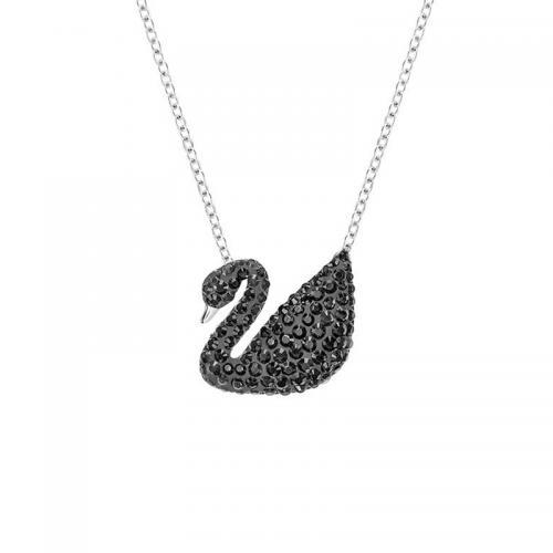 双十一特惠!到手价558元!施华洛世奇经典大号天鹅黑色天鹅+银色项链!