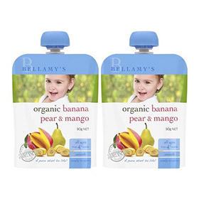 【组合装】Bellamys 贝拉米 婴儿有机香蕉梨芒果泥水果泥(4个月以上)120g2