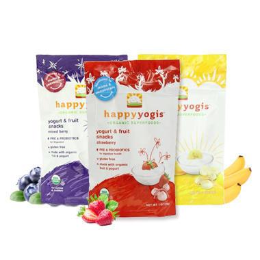 【美国Babyhaven】【满$55减$5】【3袋装】Happy Baby 禧贝有机水果溶豆 混合浆果+香蕉芒果+草莓味 28g/袋