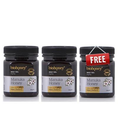【新西兰PD】 【买二赠一】 Biohoney 麦卢卡蜂蜜 MGO100+ 250g 仅需NZ$37.90/约¥172