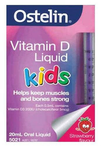 【满79澳免邮2.5kg】Ostelin 婴儿儿童液体维生素D滴剂(200IU) 补钙 草莓味 20ml