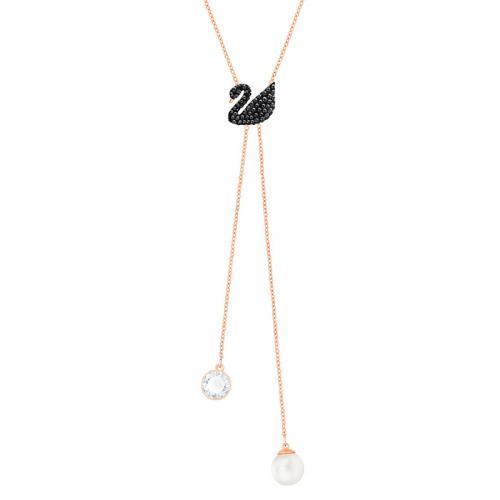 超低到手844元!施华洛世奇17年新款Y型黑色天鹅珍珠吊坠项链