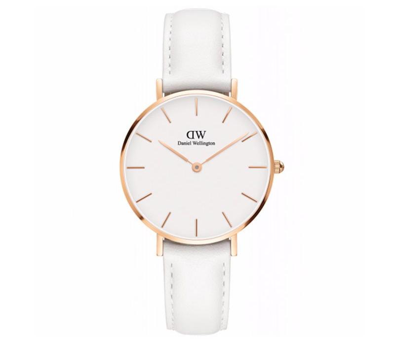 【包邮装】DW 女士石英手表DW00100189(金色边白盘/纯白色皮革表带) 优惠价格:659