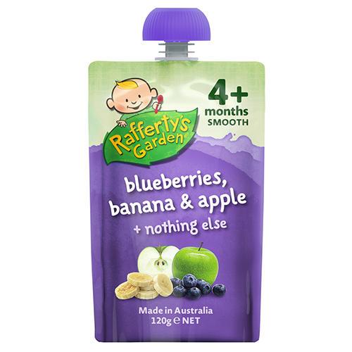 Rafferty&#039s Garden 婴幼儿纯天然蓝莓香蕉苹果混合果泥 120g(4个月以上)