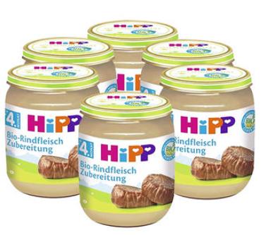 【德国DC】【6瓶装】Hipp 喜宝 宝宝佐餐有机纯牛肉泥 125g6瓶 4个月+