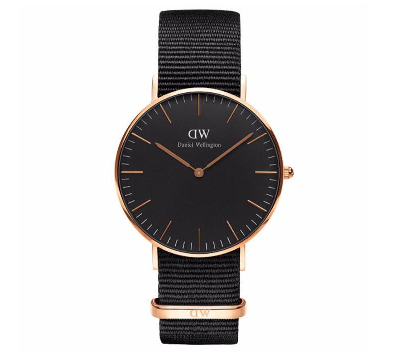 【包邮装】Daniel Wellington 丹尼尔·惠灵顿 女士超薄石英手表 DW00100150(36mm/金色边黑表盘/尼龙带)