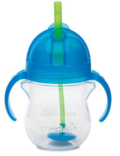 【澳洲RY药房】Munchkin 麦肯齐 满趣健 婴儿防咬防漏重力吸管杯(蓝色)207ml