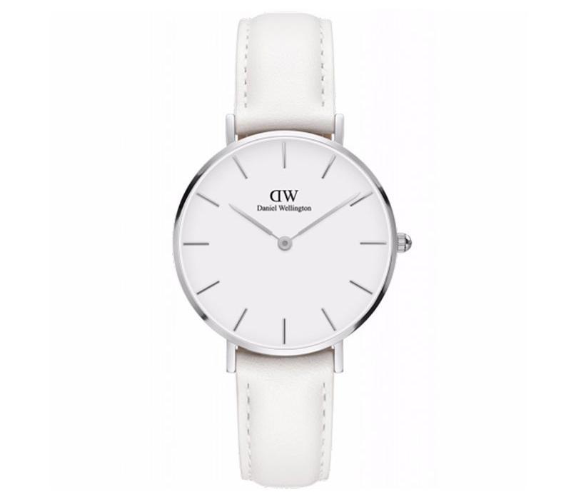 【包邮装】DW 女士石英手表 DW00100190(32mm/银色边白盘/纯白色皮革表带) 优惠价格:990元