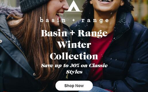 Backcountry美国官网Basin + Range Winter Sale!低至7折