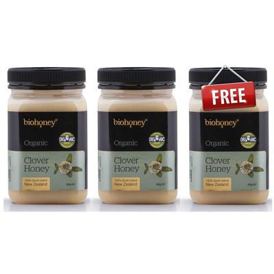 【新西兰PD】【买2赠1•3件装】Biohoney 有机三叶草蜂蜜 500g NZ$43.40/约¥202