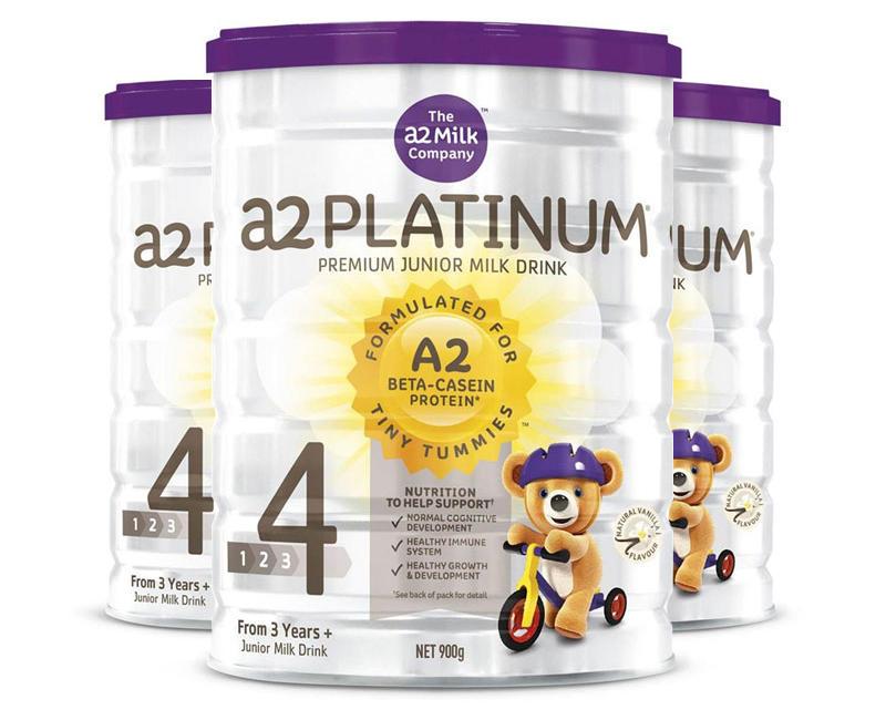 【3件包邮装】A2 白金系列 婴幼儿配方奶粉 4段 3900g/罐 优惠价格:658元