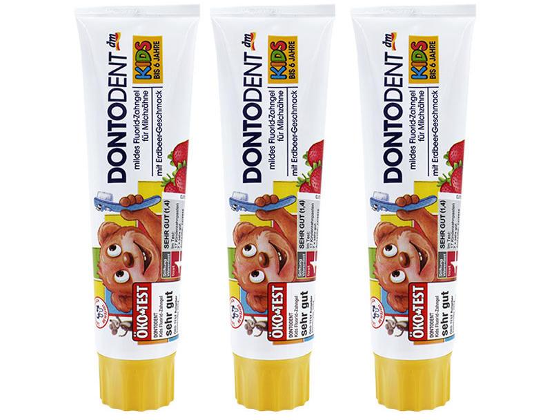 【3件包邮装】Dontodent 可吞咽抗龋齿婴幼儿牙膏 3100ml/支(适合1-6的宝宝/草莓味) 优惠价格:65元