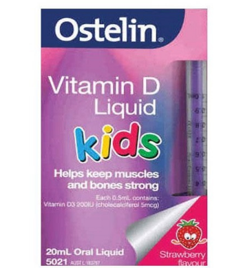 【澳洲RY药房】【超值秒杀】Ostelin 婴儿儿童液体维生素D滴剂(200IU) 补钙 草莓味 20ml