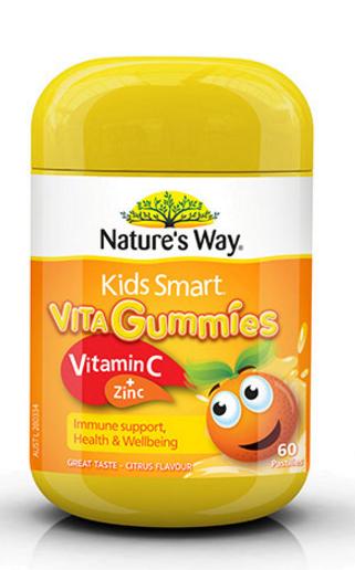 【澳洲RY药房】【限时秒杀】Nature&#039s Way 佳思敏 Kids Smart儿童维生素C+锌软糖 60粒