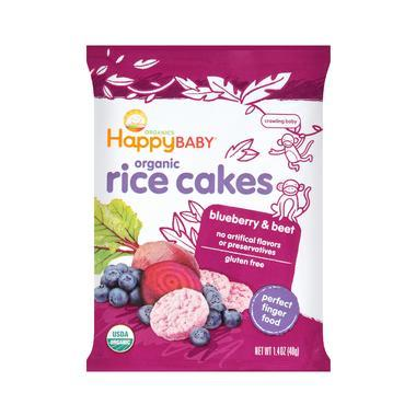 【美国Babyhaven】Happy Baby 禧贝有机米糕 大米饼 蓝莓甜菜味 7个月+ 1.4盎司/40g