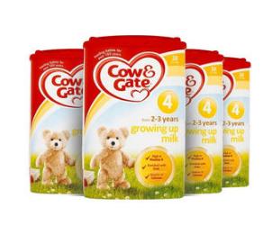 【2.22 周四爆料】【4罐包邮装】Cow &amp Gate 牛栏 幼儿配方奶粉4段 (2-3岁幼儿)800g4罐