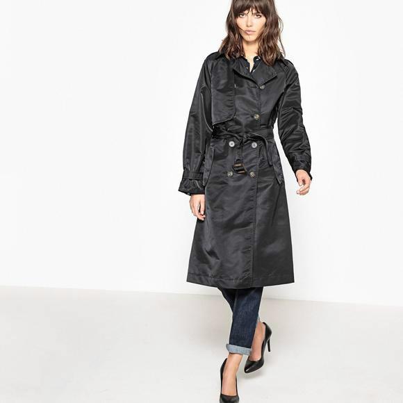 (2.17)【法国LR】全场商品五折起:La Redoute Collections 女士系带排扣风衣(特价仅限黑色)