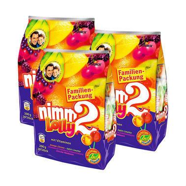 (2.17)【德国DC药房】【3包特惠装】Nimm 2 二宝水果棒棒糖 200g 内含20小包装 3包