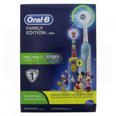 【2.18】 Oral B 欧乐B家庭装 Pro700成人电动牙刷 +儿童电动牙刷米奇款等优惠商品