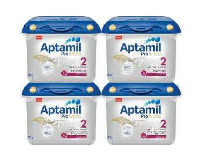 【限量补货】MilupaAptamil爱他美白金版婴儿配方奶粉2段6月+800g4盒装