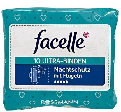 【德国BA】Facelle 菲思乐卫生巾夜用无香棉柔超薄护翼无荧光剂5滴水32cm 10片