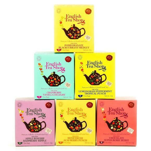 新年精品美食馆 全场9折 English Tea Shop 创意有机水果茶包礼盒 不含咖啡因 48袋 6盒