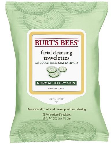 【澳洲RY药房】Burt`s Bees 小蜜蜂 黄瓜鼠尾草深层卸妆洁面湿巾 30片