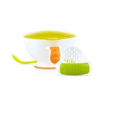 【美国Babyhaven】Nuby Garden Fresh 努比 婴儿研磨喂食碗 白色/绿色