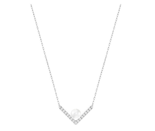 Swarovski施华洛世奇Edify V形嵌水晶珍珠项链补货$41