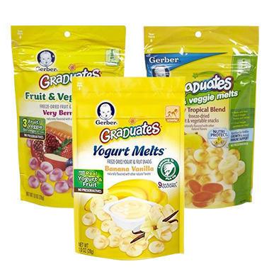 【美国Babyhaven】Gerber 嘉宝溶豆套装 混合热带水果1袋+香蕉香草酸奶1袋+混合浆果1袋