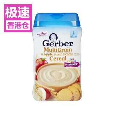 【美国Babyhaven】【极速香港仓】Gerber 嘉宝 苹果甜薯混合谷物米粉 二段宝宝辅食 8盎司