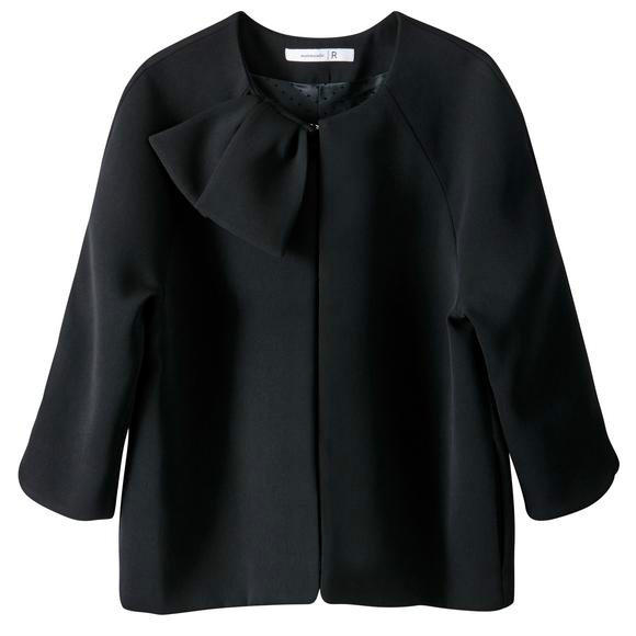 【法国LR】MADEMOISELLE R 纯色蝴蝶结优雅女士短外套
